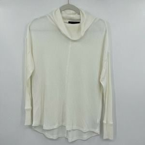 NWOT Sanctuary Mock Neck Waffle Knit White Silky Model Knit Tunic Top. Small S